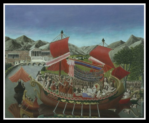 She also had a flair for the flashy that might have helped to catch her men's eyes. Cleopatra's Barge, by Andre Bauchant