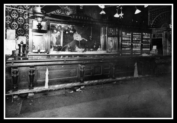 The Carey House Hotel bar after Carry got busy. (Not reflection of  poor Cleopatra in broken mirror)