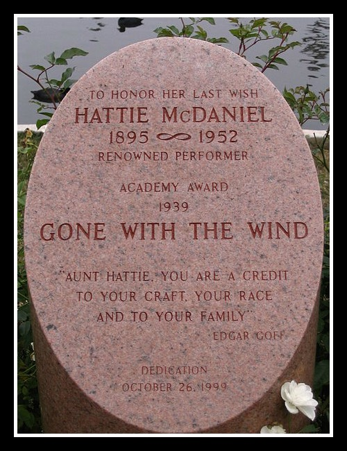 "Her final wish was honored, years later, with this memorial stone in what is now called the ""Hollywood Forever"" Cemetery."