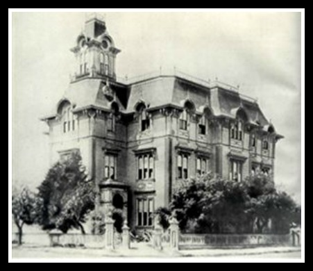 Oakland High (this building was in use until the year before she graduated with Jack London...how about that?)  Courtesy OHS History