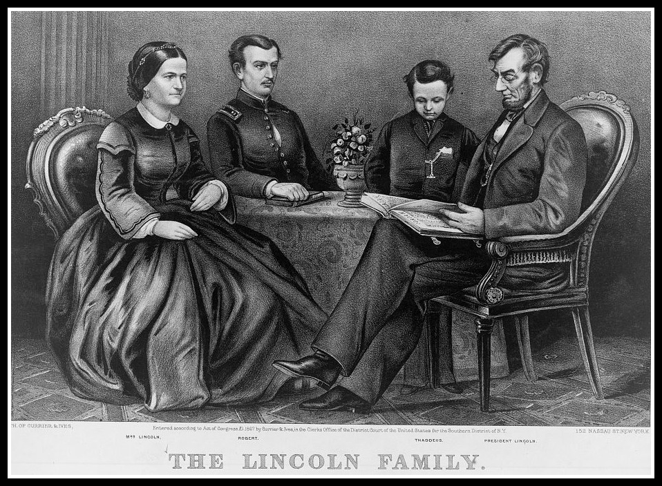 "The Lincoln Family after Willie's death (Note ""Thaddeus"" but you know better, don't you?) Currier and Ives (Library of Congress)"