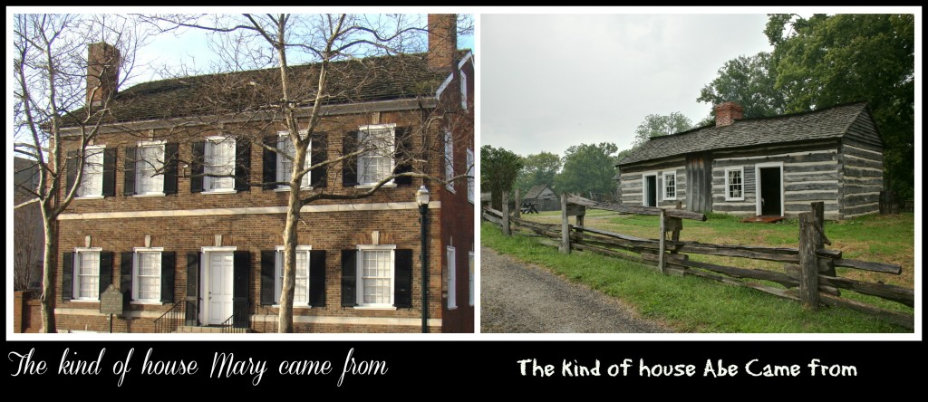 Opposites since birth! (Todd house, built when she was in school; reproduction of Lincoln log house)