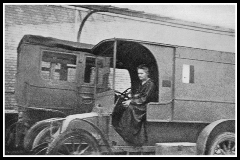 Marie at the wheel of a Little Curie.