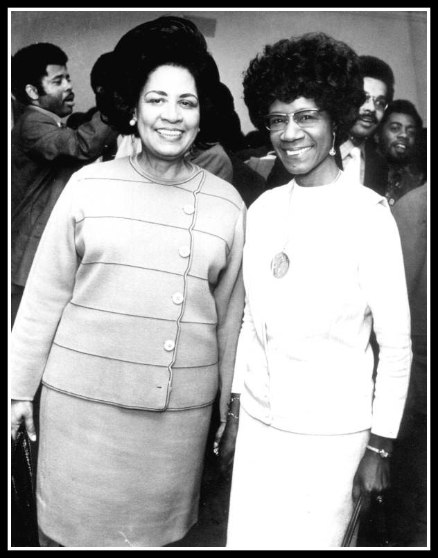 Gwendolyn Sawyer Cherry and Shirley at the 1972 convention. wikicommons