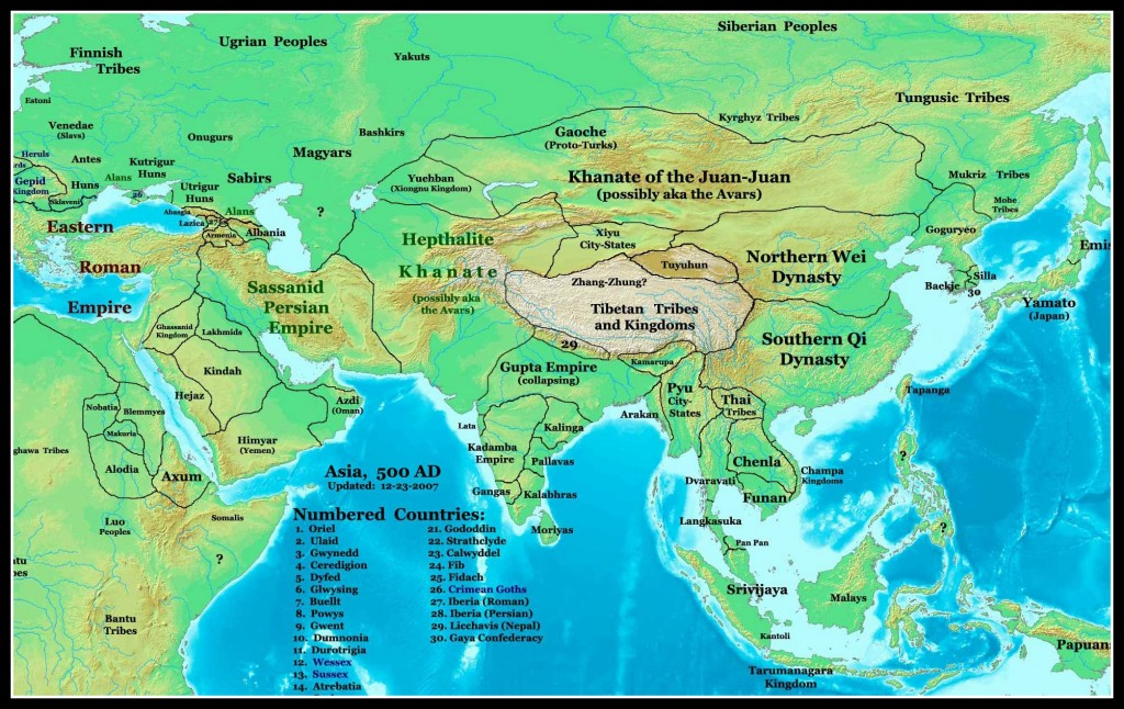 Map of China about the time of Mulan's origins
