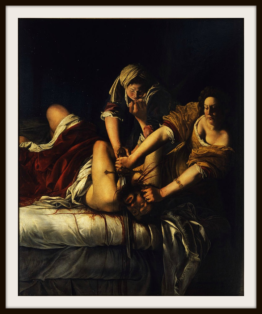 Her first post trial painting...nope. this isn't sending a message at all. Judith Slaying Holofernes