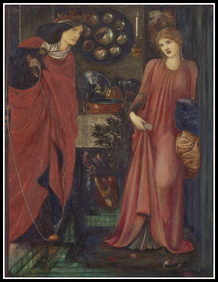 This is Evil Eleanor attacking fair Rosamund Clifford, Henry's mistress (an oft repeated an most likely incorrectly twist in Eleanor's story.) Edward Burne-Jones 1861