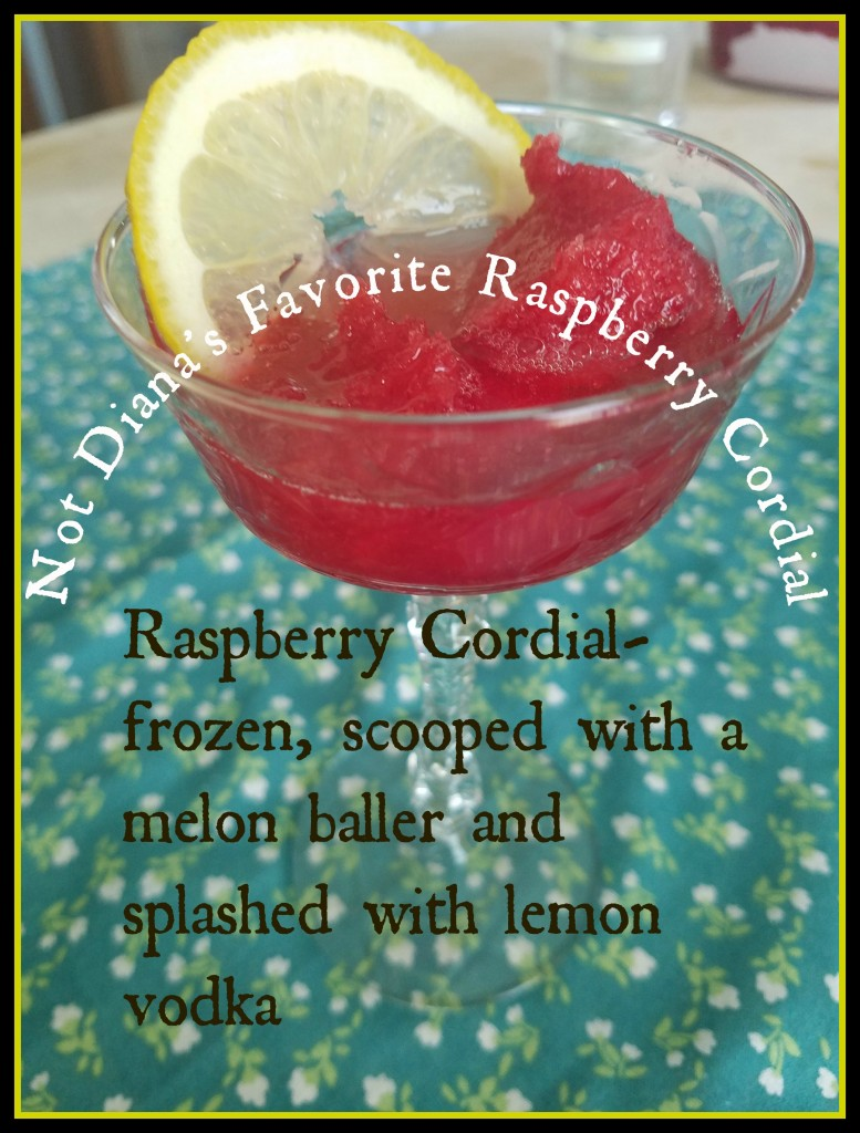 Susan made Diana Barry's Favourite Raspberry Cordial from the Anne of Green Gables Cookbook---then she messed with the recipe so that it only had the vaguest resemblance to the original.