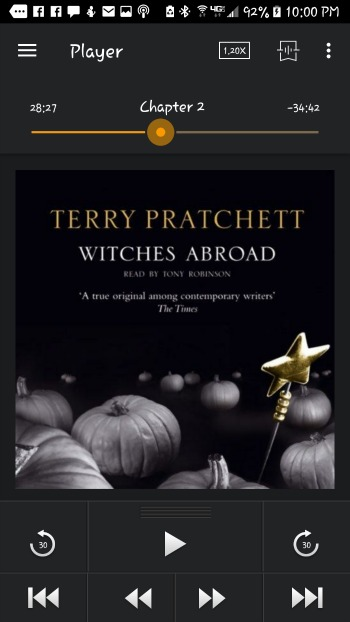 FIction-- Witches Abroad by Terry Pratchett- part of the Discworld Series. Also proof that Susan has begun it, and the Android Rosemary font that she prefers and makes Beckett's eye twitch.